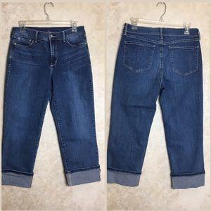 NYDJ Size 8 Dayla Wide Cuff Capri Jeans Blue